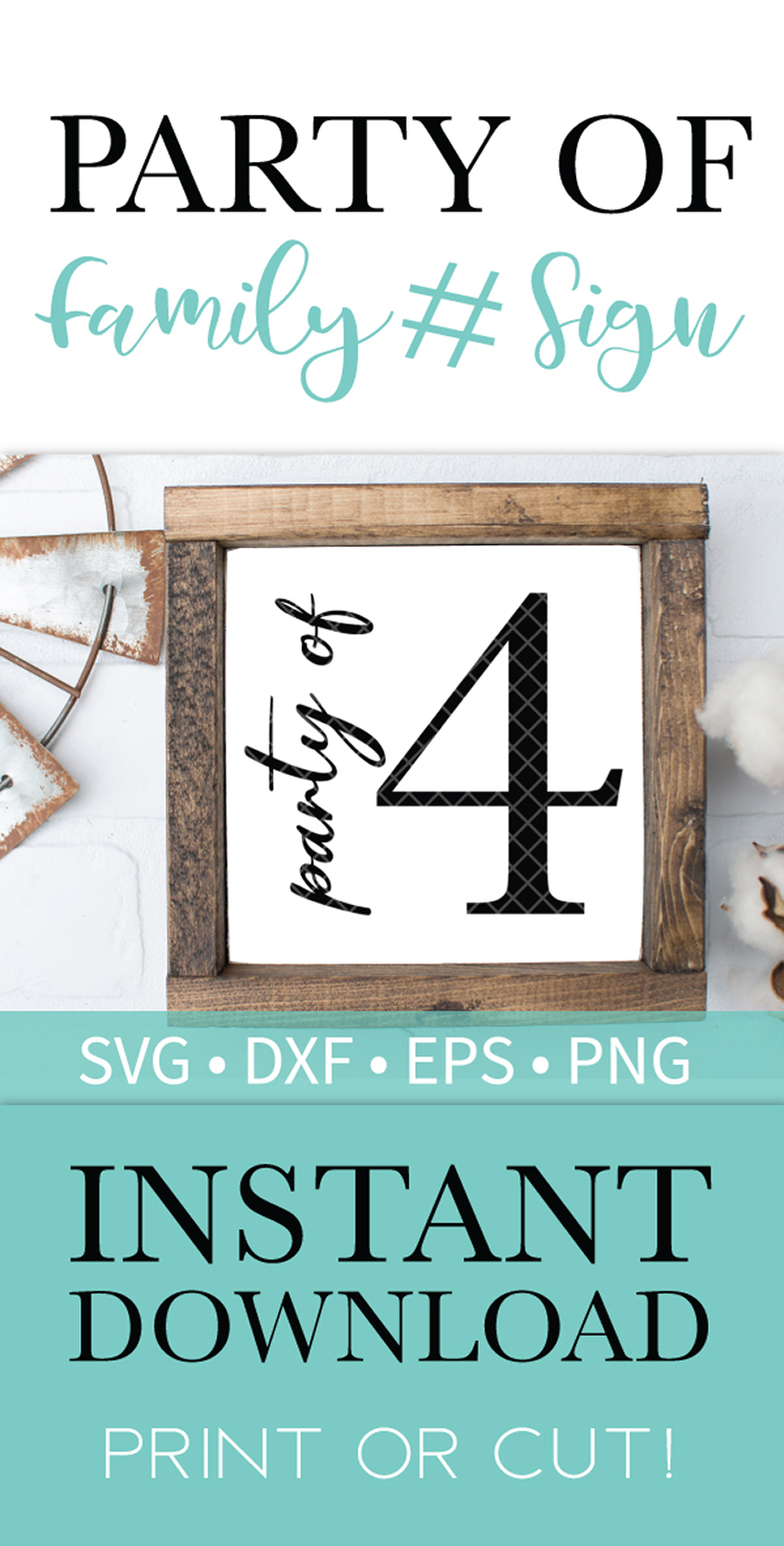 Party of 4 Family Sign SVG DXF EPS PNG Clipart Cut File example image 2