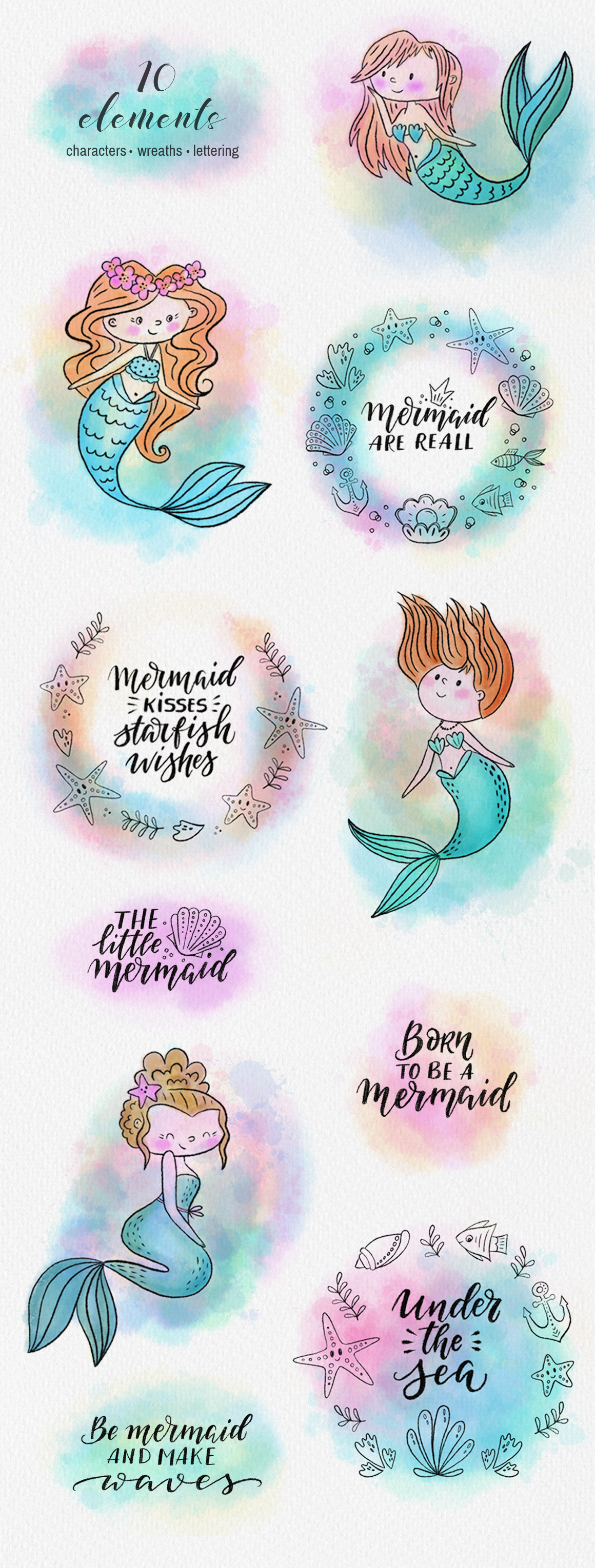 Mermaids watercolor collection example image 4