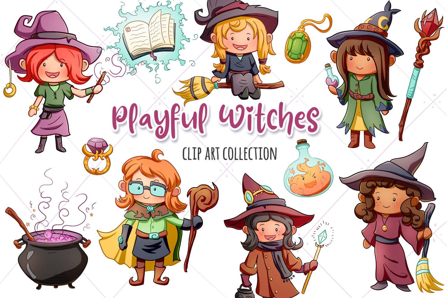 Playful Witches Fantasy Clip Art Collection example image 1