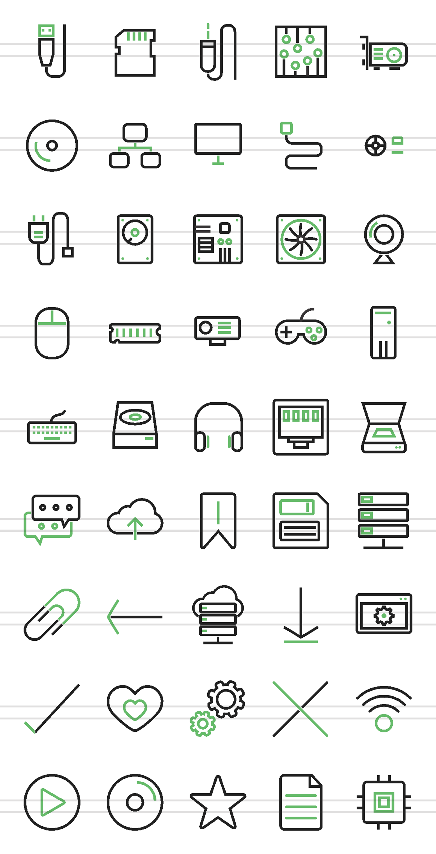 45 Computer Line Green & Black Icons example image 2