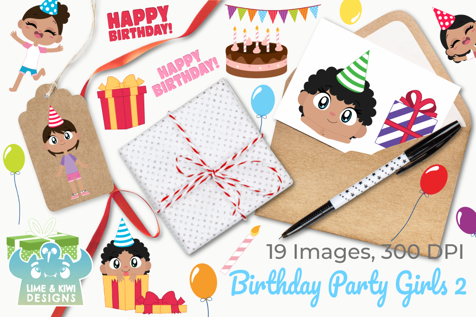 Birthday Party Girls 2 Clipart, Instant Download Vector Art example image 4