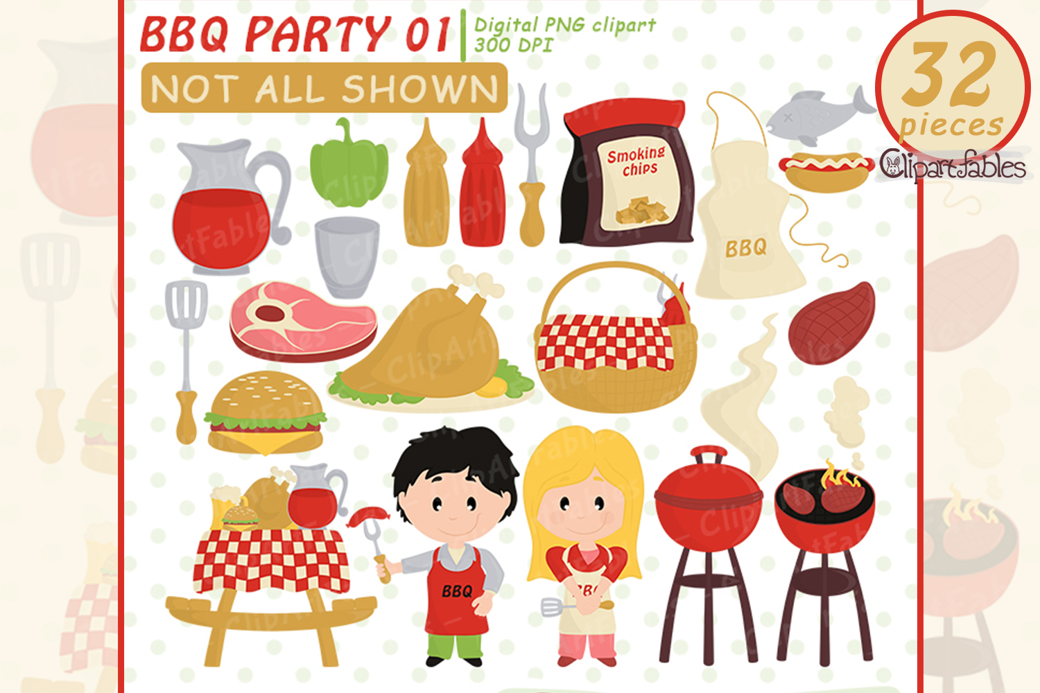 Cute BBQ party, Barbeque clipart, Picnic, Grill, - INSTANT example image 1