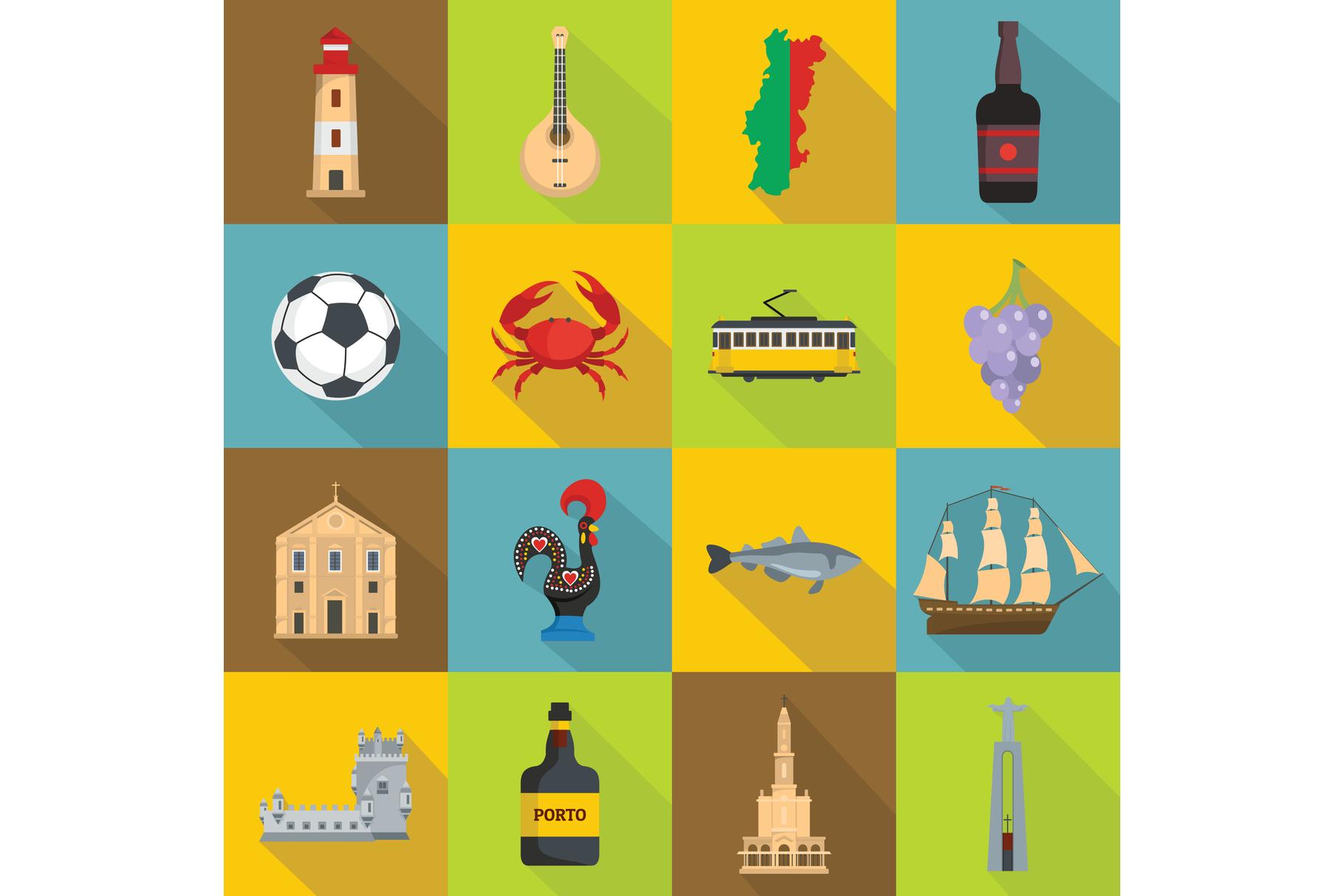 Portugal travel icons set, flat style example image 1