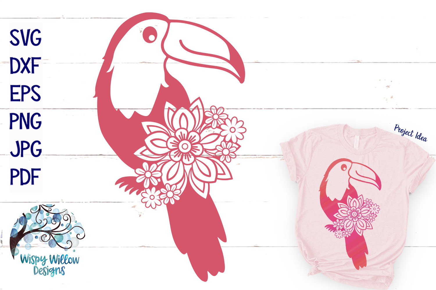Floral Toucan SVG  Tropical Summer Bird SVG example image 1