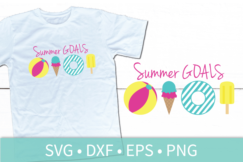 Summer Goals SVG - Beach Ball - Ice Cream Cone - Pool Raft example image 1