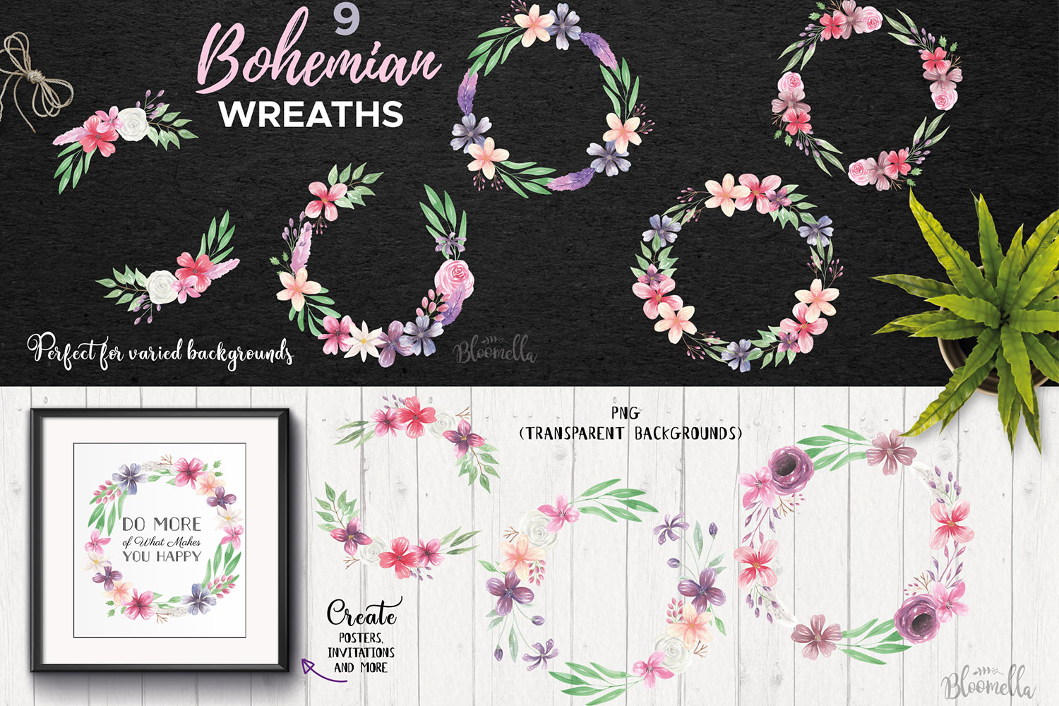 Bohemian Floral Watercolor HUGE Package Wedding Clipart example image 6
