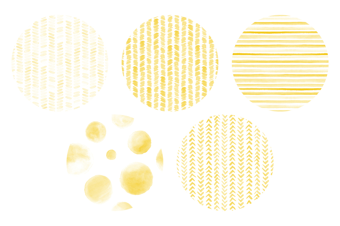 20 Seamless Watercolor Patterns Yellow example image 5
