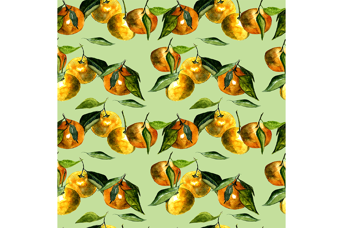Seamless pattern tangerines. example image 1
