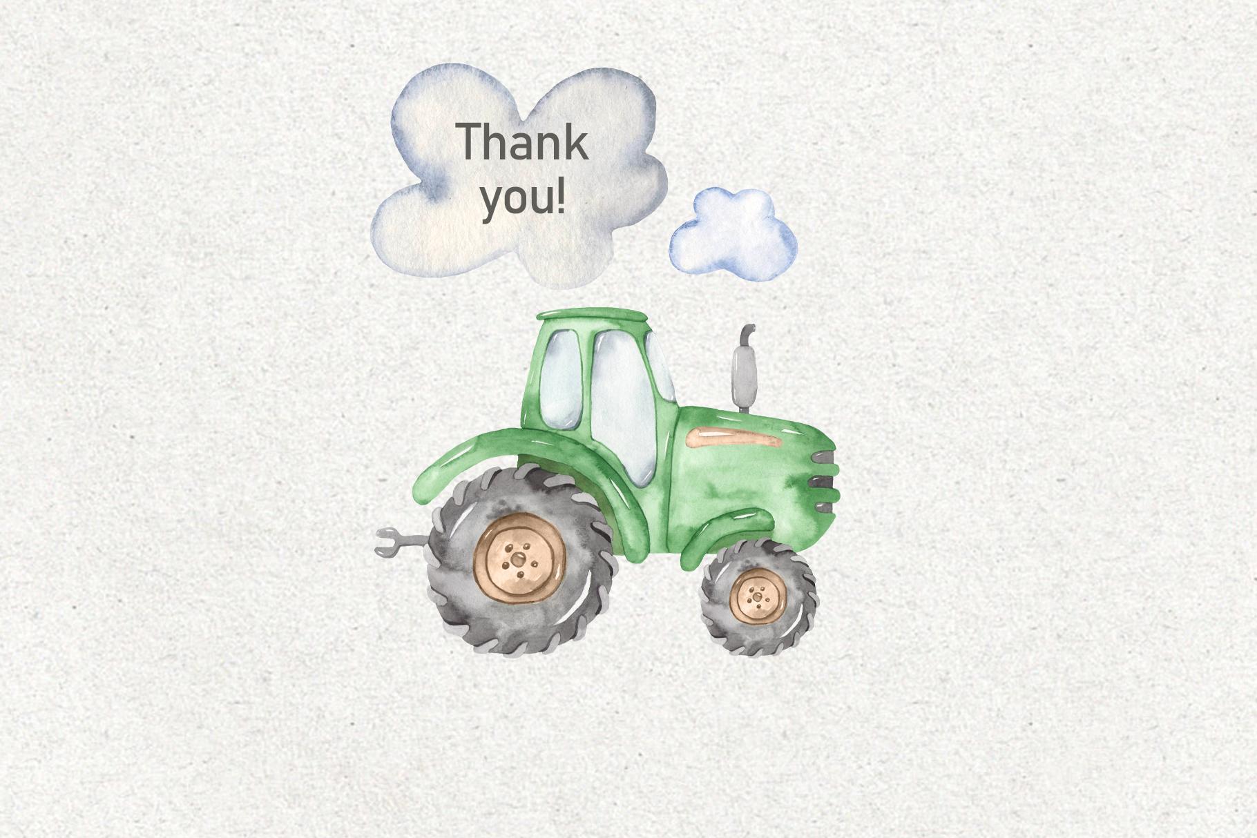 Tractor, harvesting, hay, pumpkin, farm. Watercolor clipart example image 10