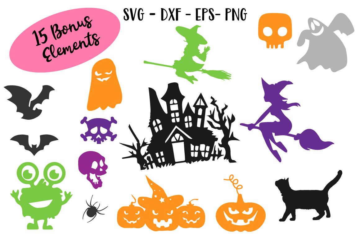 SVG Halloween Bundle -16 Cutting files and 15 Bonus Halloween Elements - Cut Ready SVG for Halloween example image 2