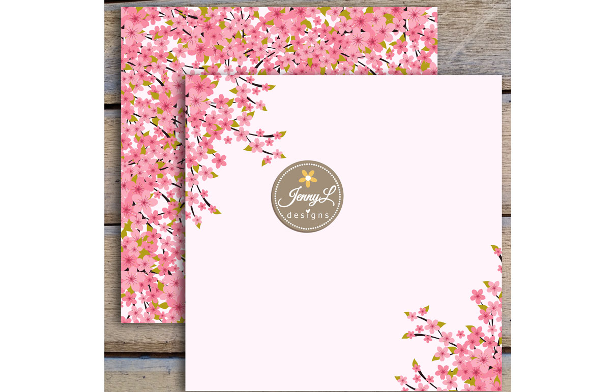 Cherry Blossoms Digital Papers and Sakura Clipart example image 6