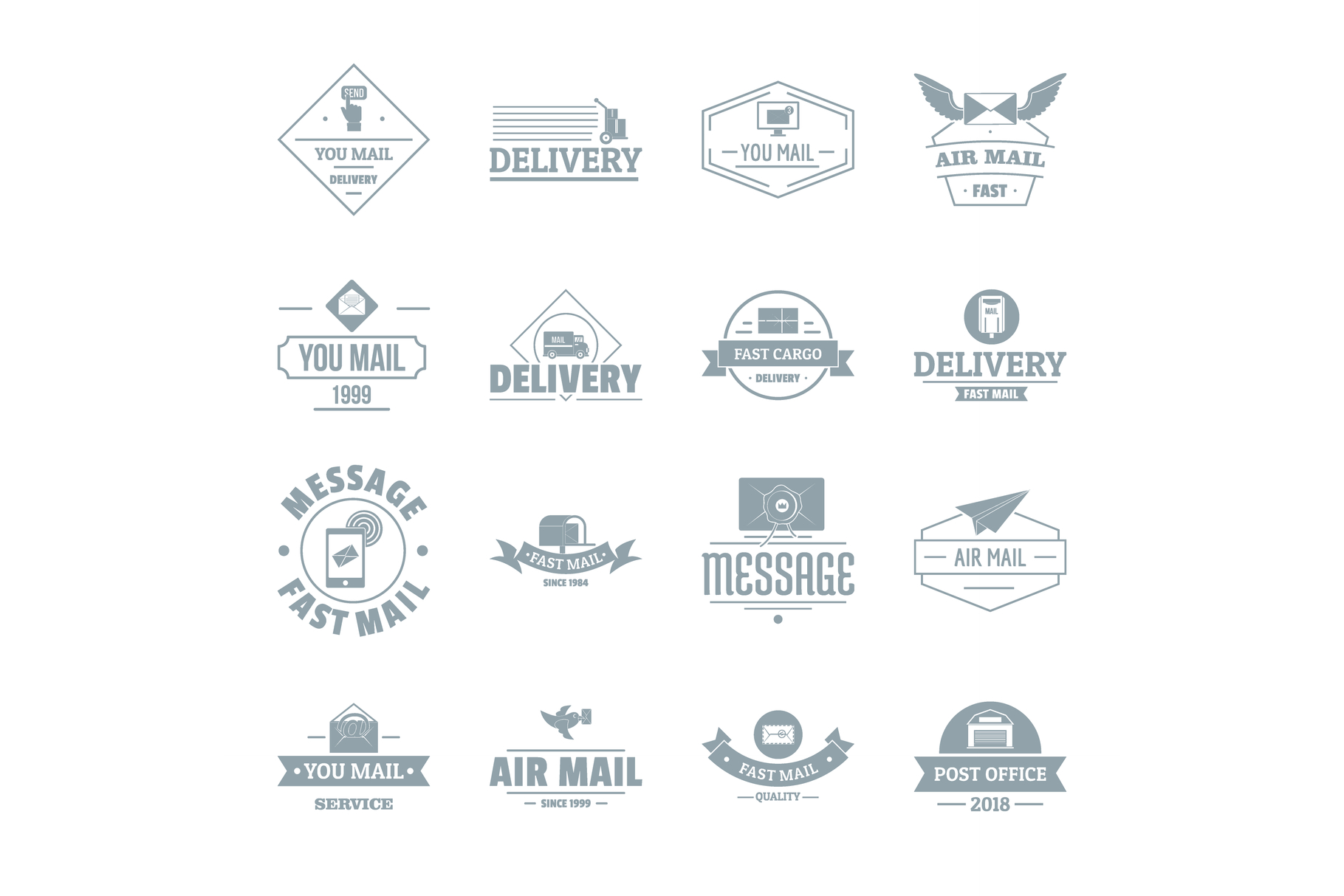 Delivery service logo icons set, simple style example image 1