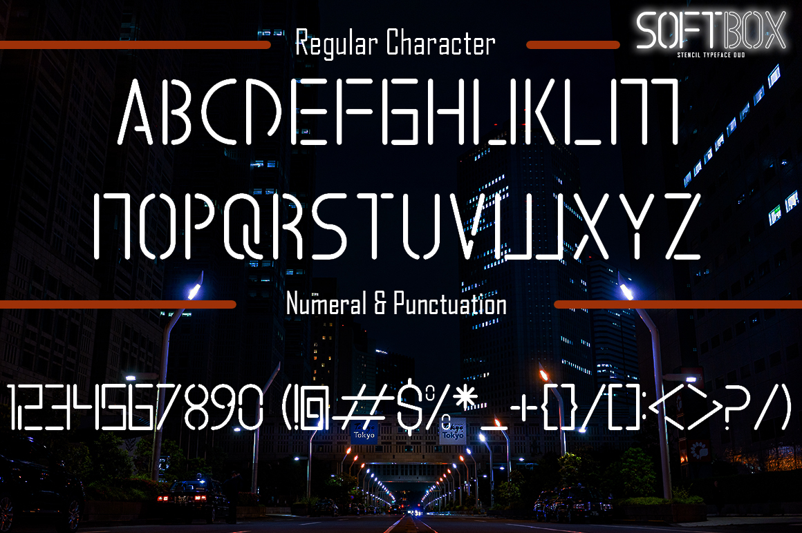 SOFTBOX - STENCIL TYPEFACE FONT DUO example image 6