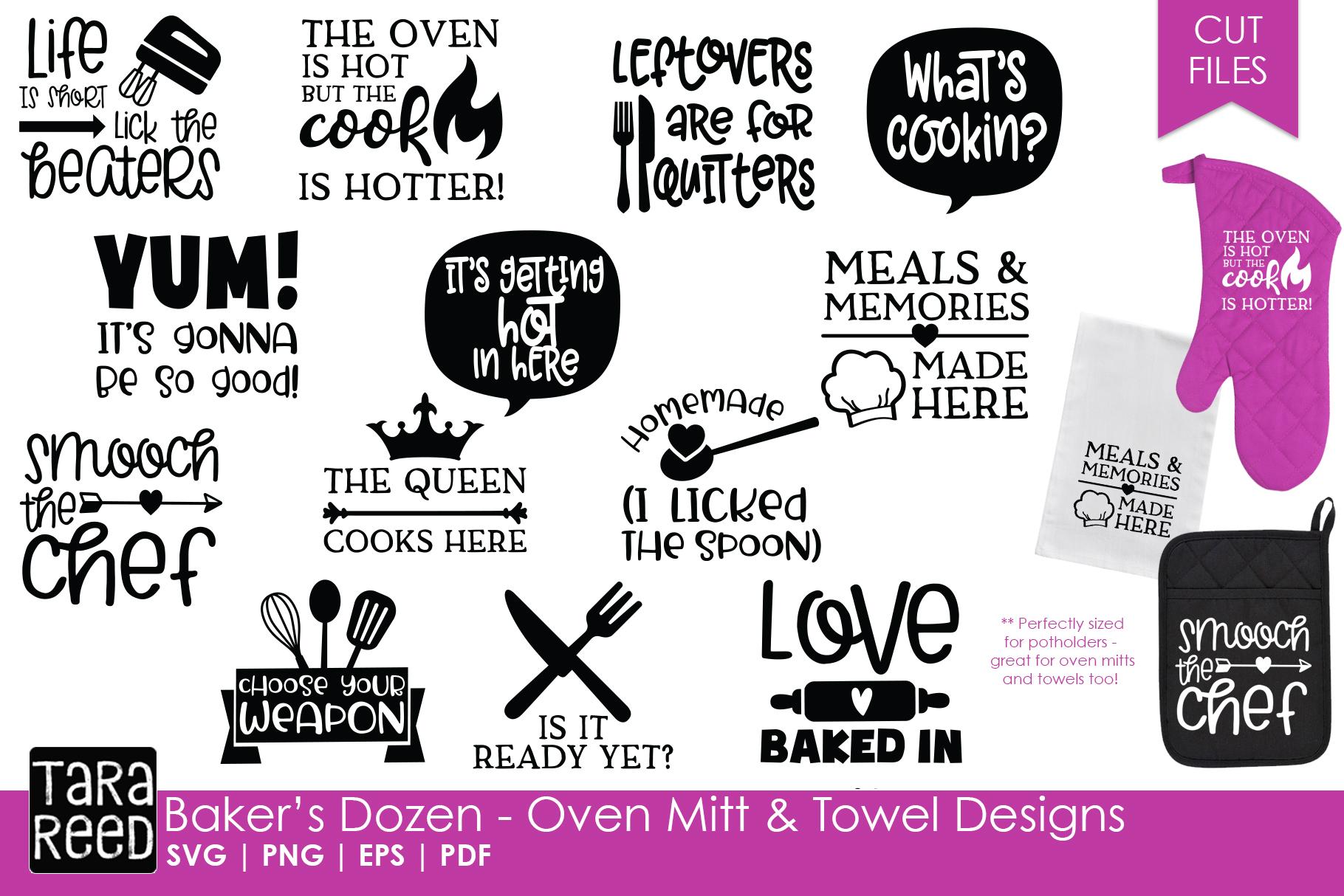Baker's Dozen Oven Mitt and Towel Designs - Kitchen SVG ...