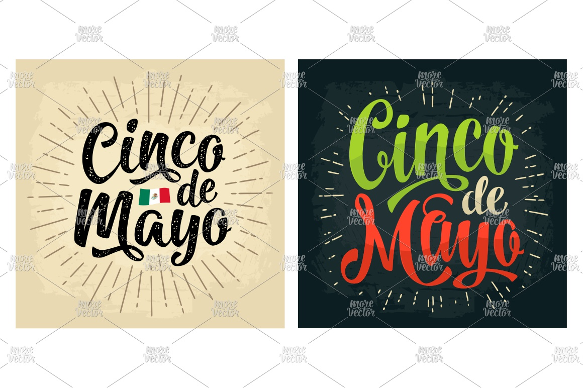 Cinco de Mayo lettering and mexican food. Vector engraving example image 7