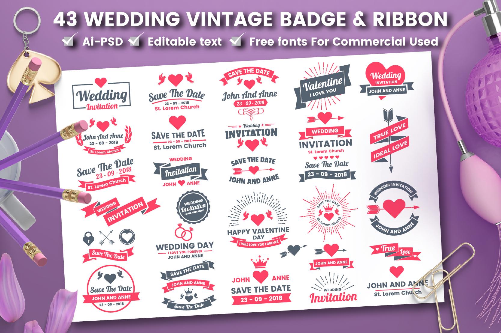 43 WEDDING VINTAGE BADGE & RIBBON example image 1