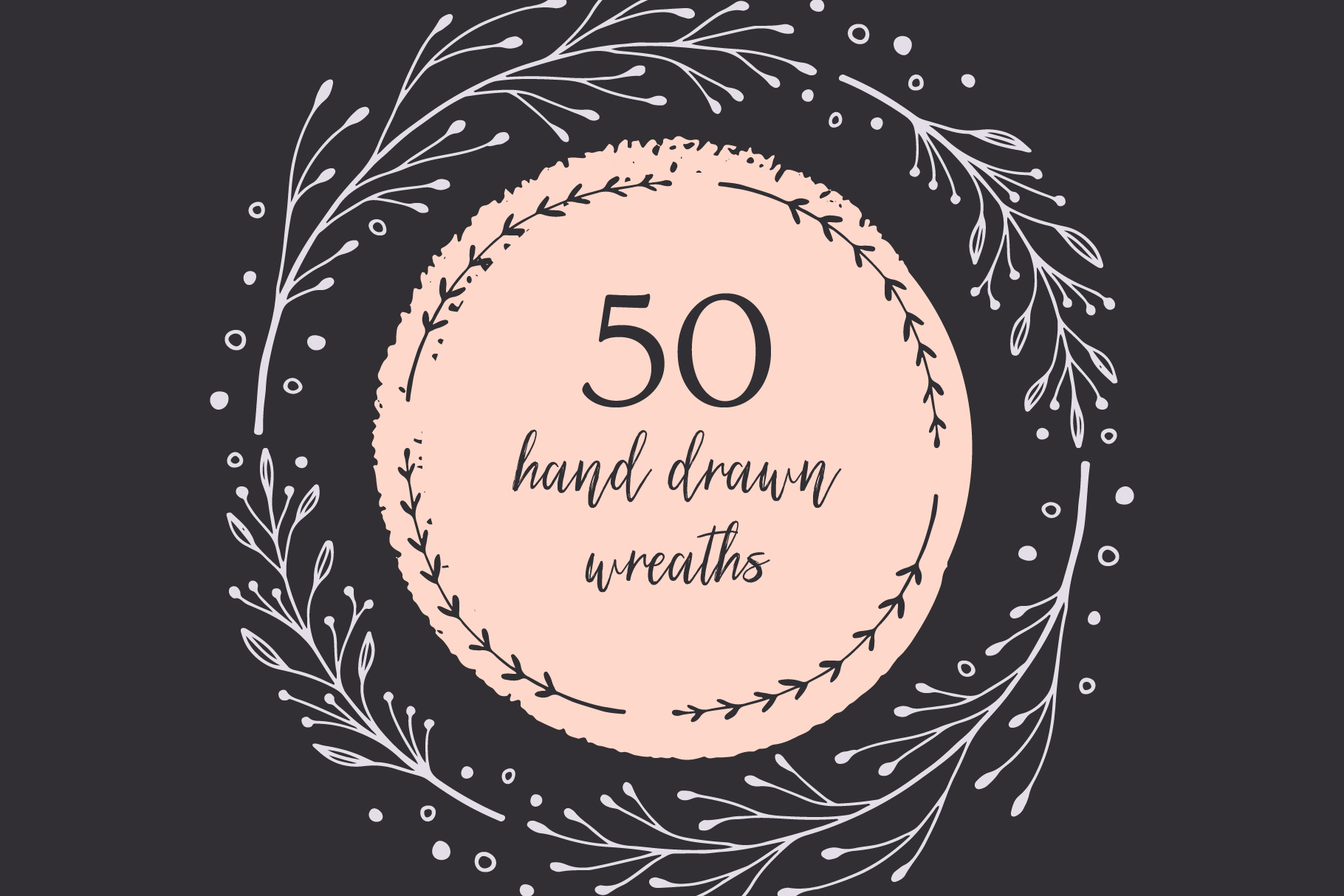 50 Hand Drawn Wreaths example image 1