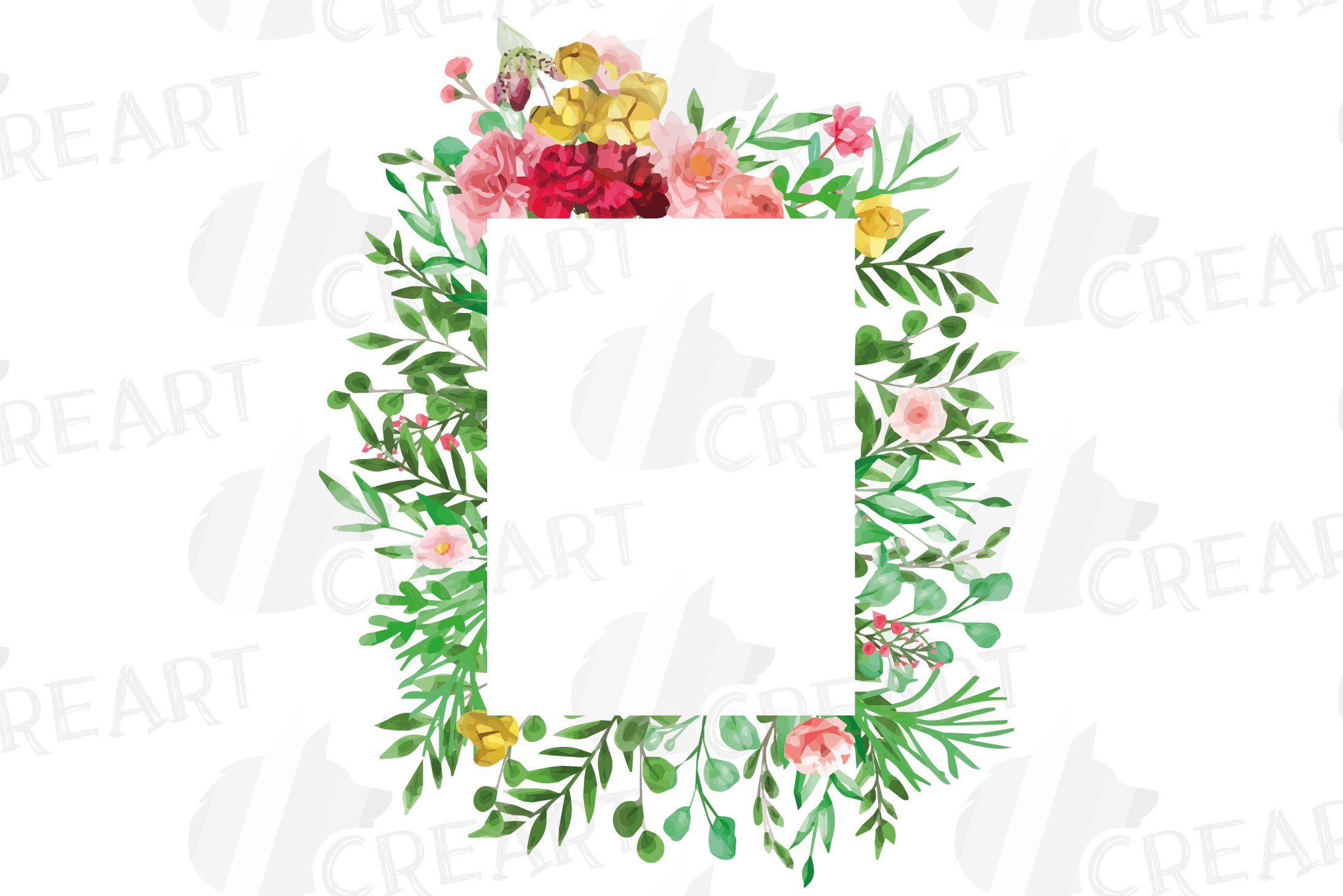 Watercolor floral floral frames and borders clip art pack example image 7