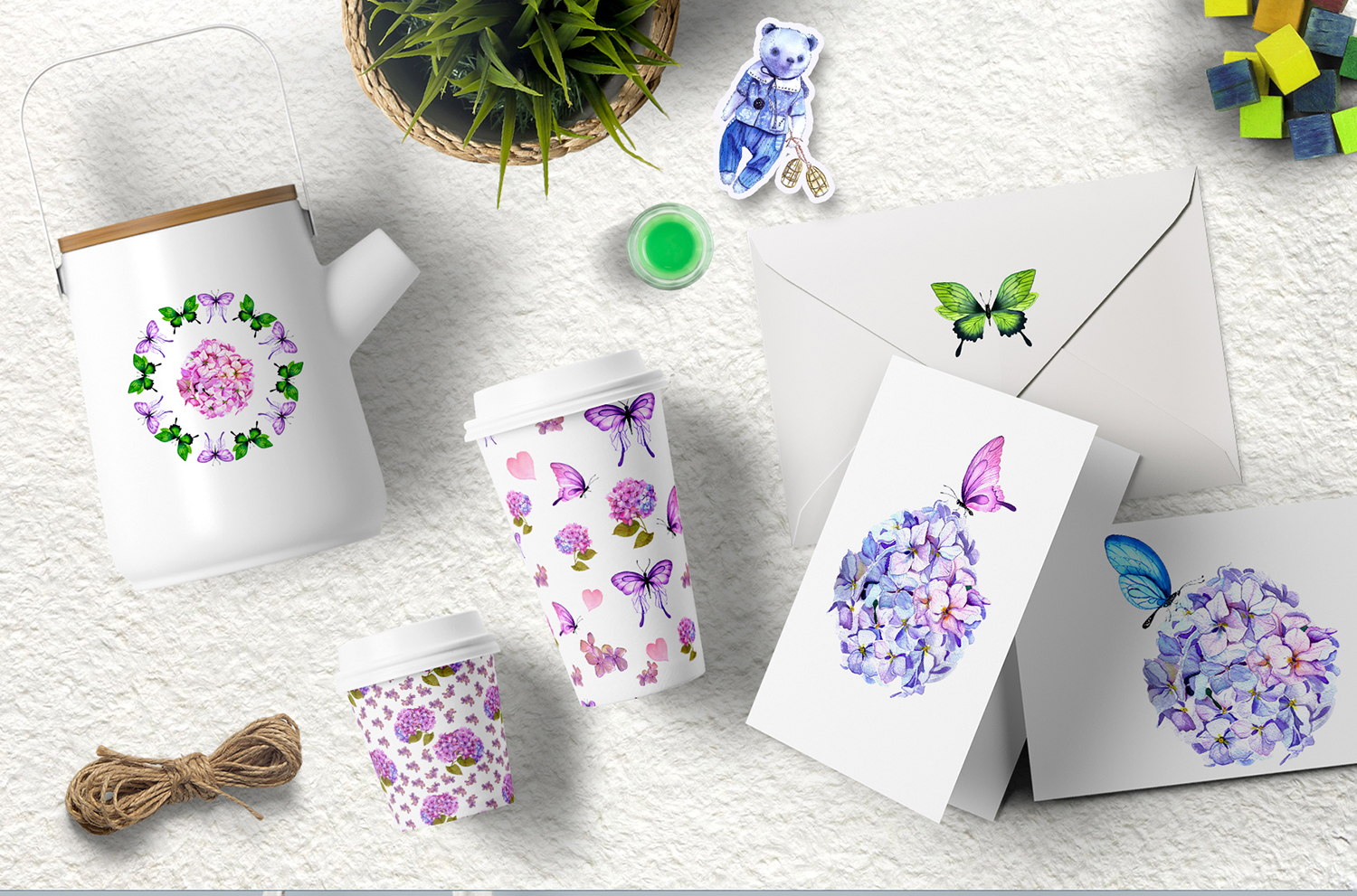 Watercolor clipart of hydrangea, butterflies and teddy toys example image 3