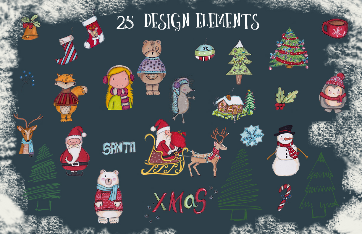 A Christmas cute illustrations set example image 2