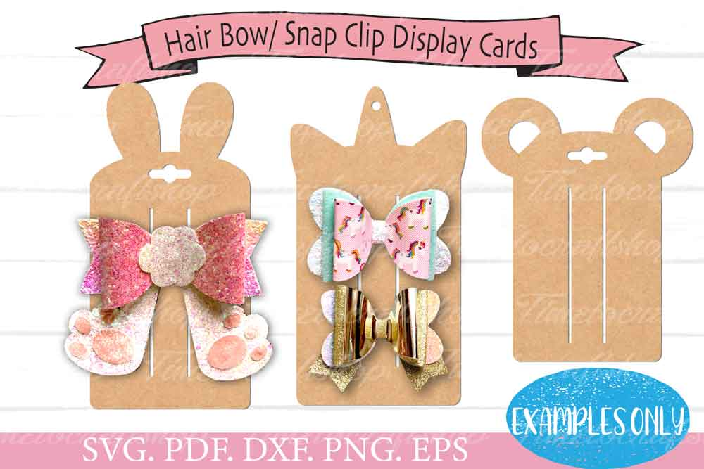 3 in 1 Animal Ears Bow Clip Headband Display Card Bundle example image 7