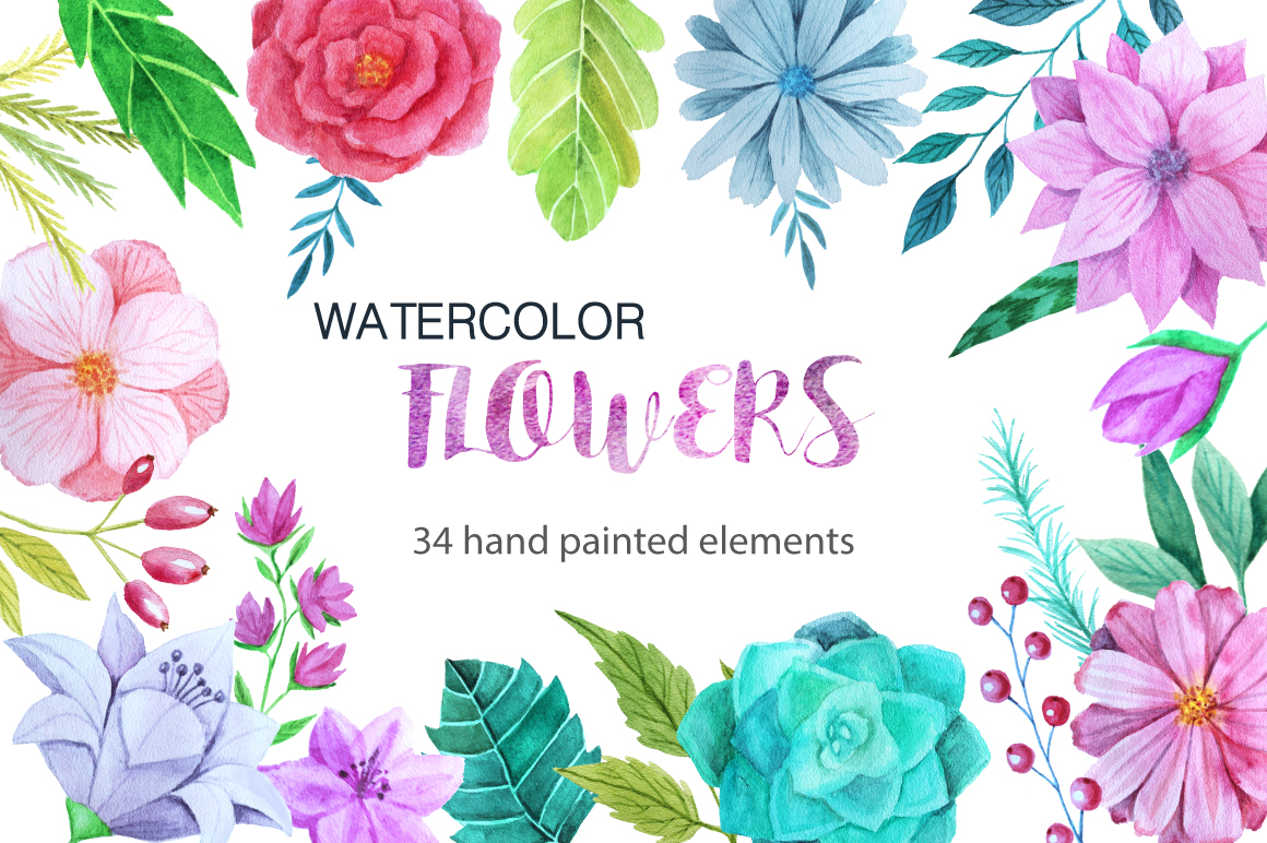 Watercolor Flower Pack example image 1