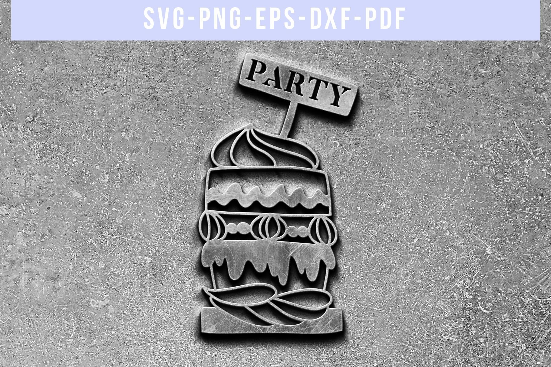 Cake Papercut Template, Birthday Party Invitation SVG, PDF example image 5