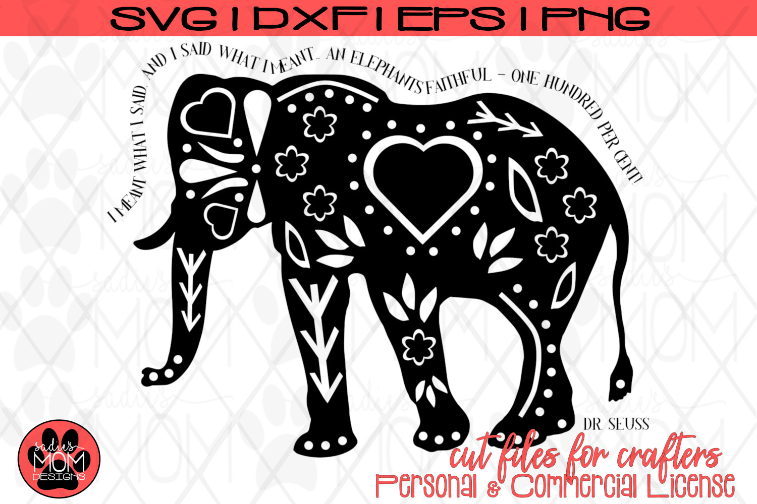 Dr Seuss Doodle Elephant SVG | Horton Cut File Design example image 2