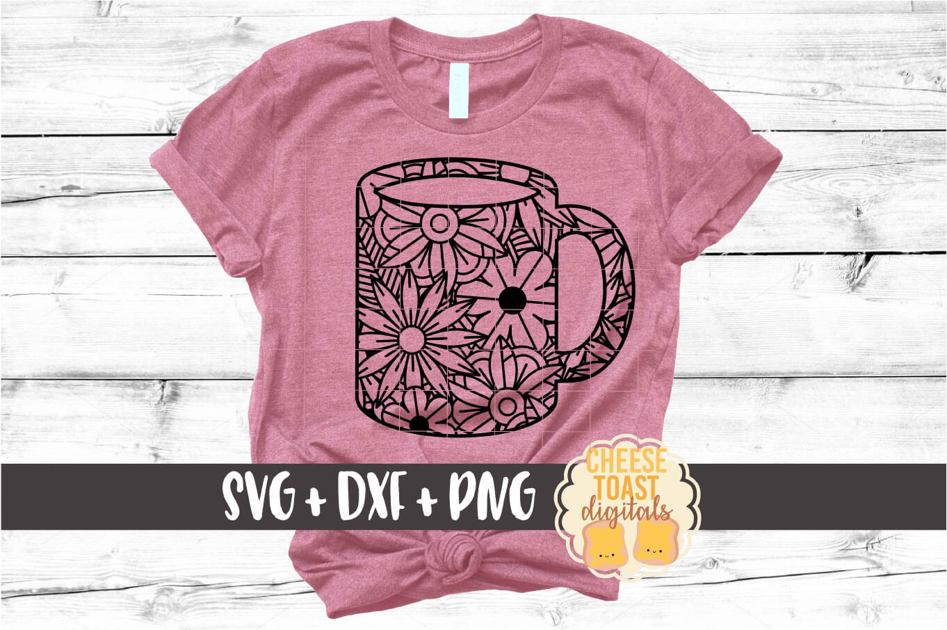 Floral Zen Coffee Cup Set - 2 Designs SVG PNG DXF Cut Files example image 3