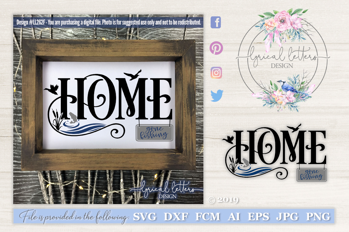 NEW! Lake House Home with Gone Fishing Sign SVG DXF LL262F example image 1