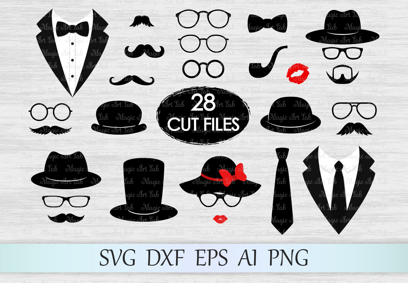 Photo booth props svg, Mustaches svg, Glasses svg, Tuxedo svg, Hats svg, Smoking pipe svg, Retro svg, Lips svg, Tuxedo clipart, Gentleman svg example image 1