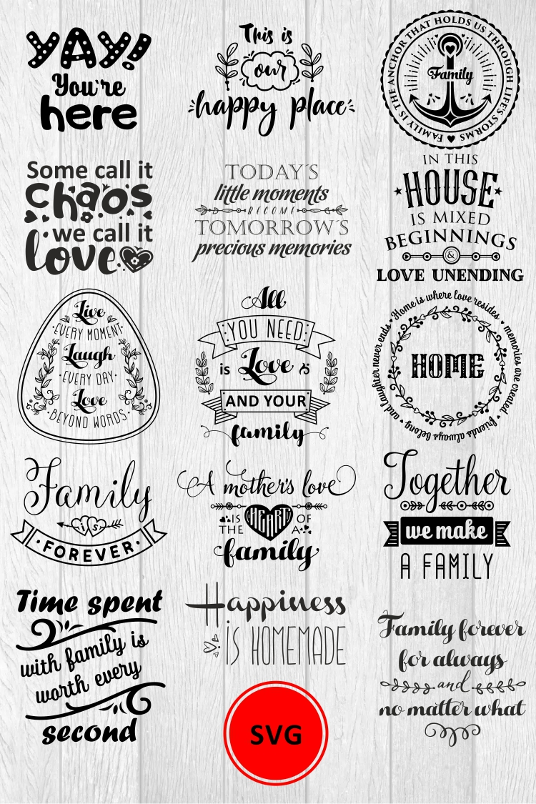 Love Family Quotes. SVG bundle. Vol. 1 example image 14