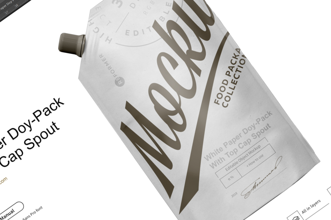 White Paper Doy-Pack With Top Cap Spout Mockup example image 6