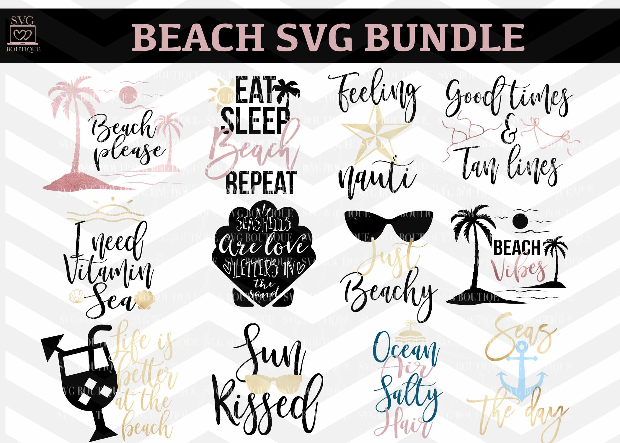 Beach Vacation Design Bundle - SVG PNG DFX Cutting Files example image 1