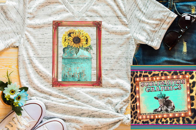 Vintage Sunflower Frame Sublimation Digital Download example image 1