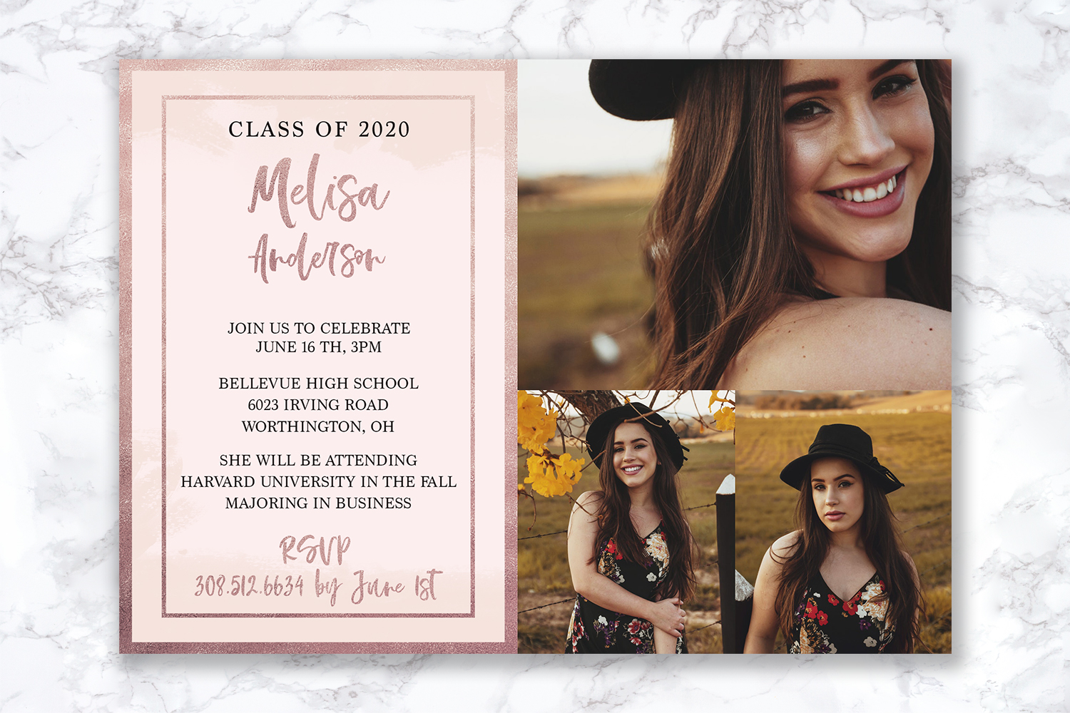 Senior Announcement Card - Rose gold - Photoshop Template example image 3