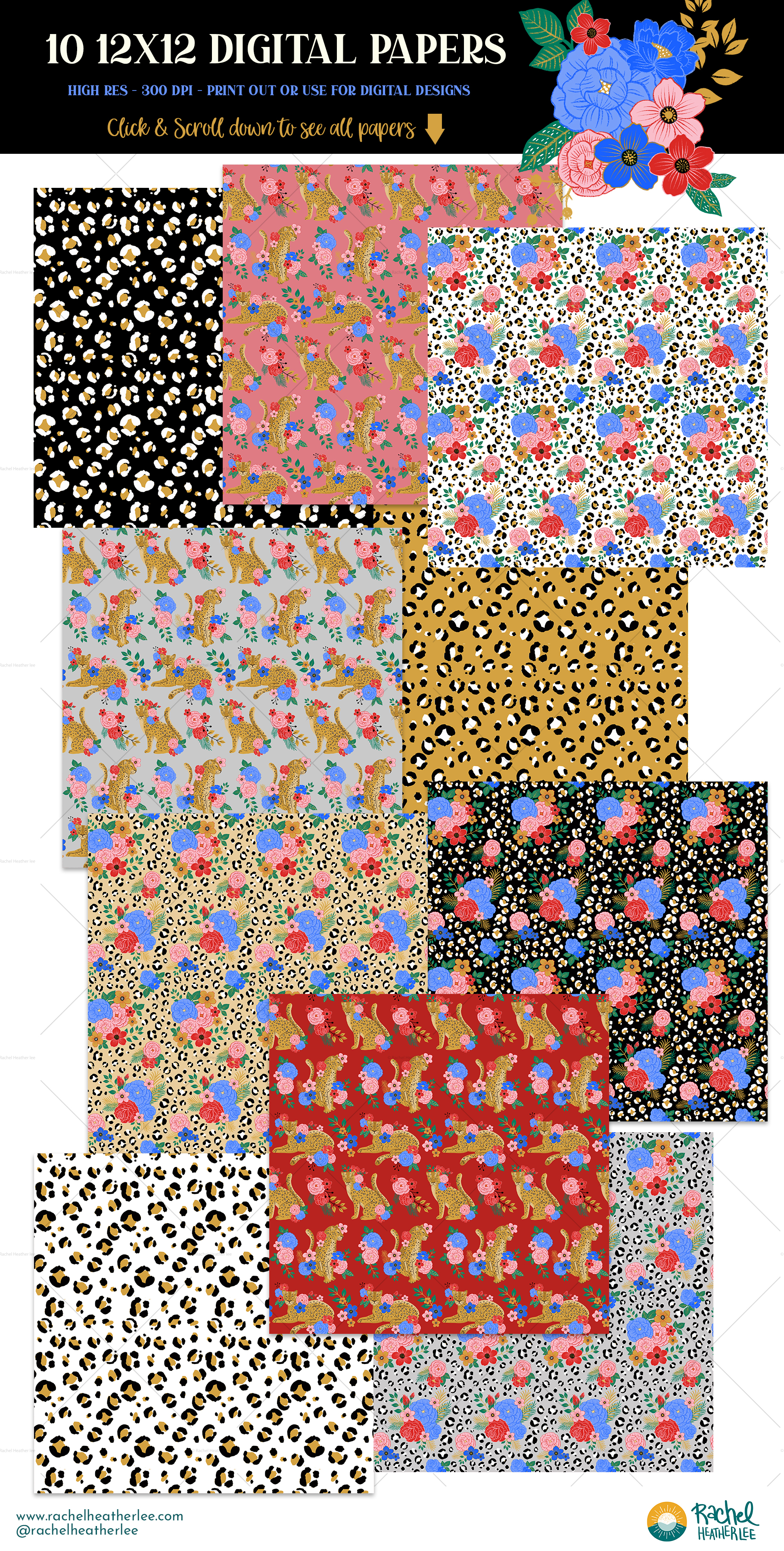 Leopard Floral Clipart & Patterns example image 8