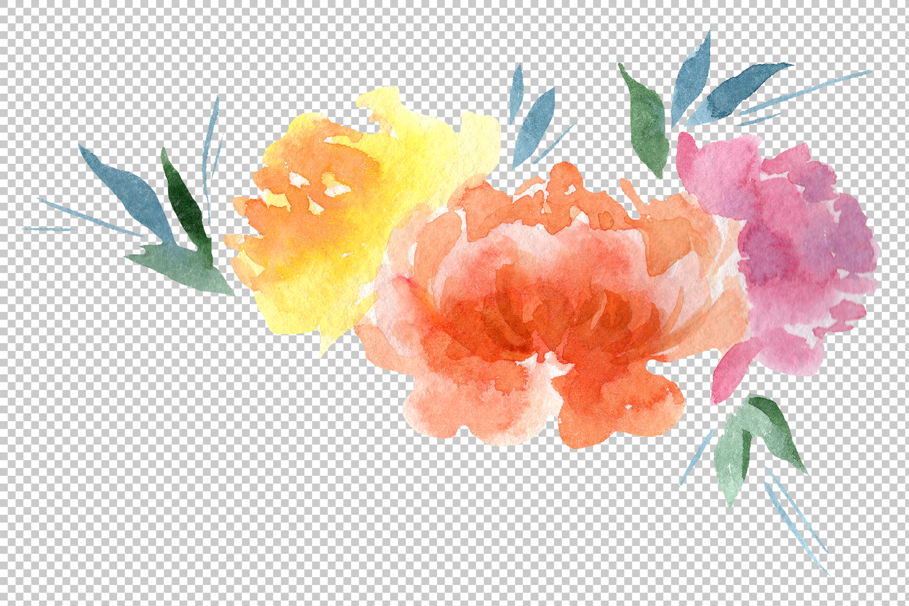 Delicate colorful peony PNG watercolor set example image 2