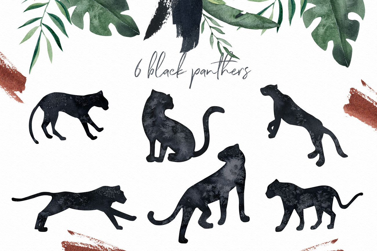 Black Panther clipart watercolor tropical clipart, gold leaf example image 2