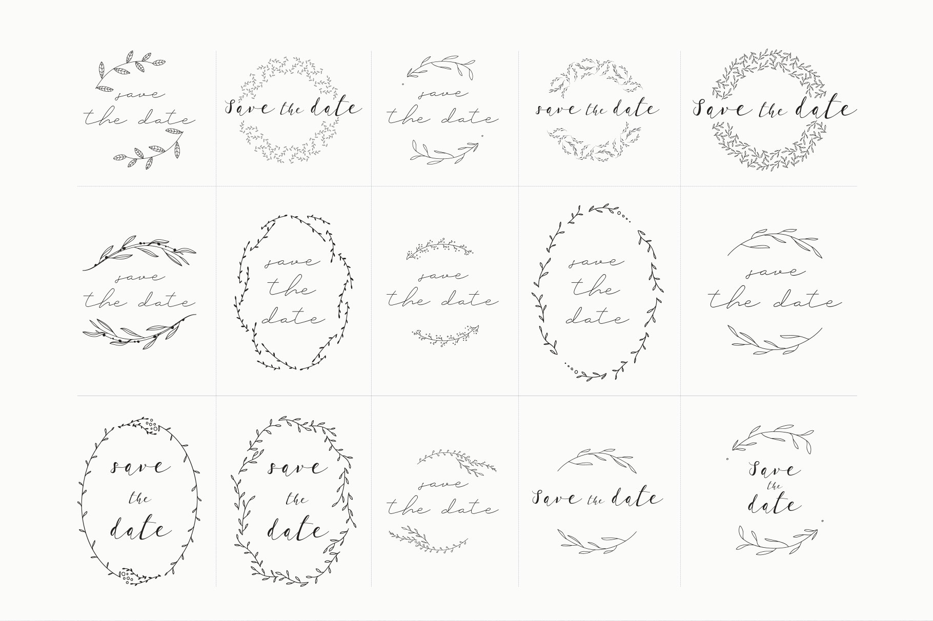 Save The Date Premade Wreath Logos example image 2