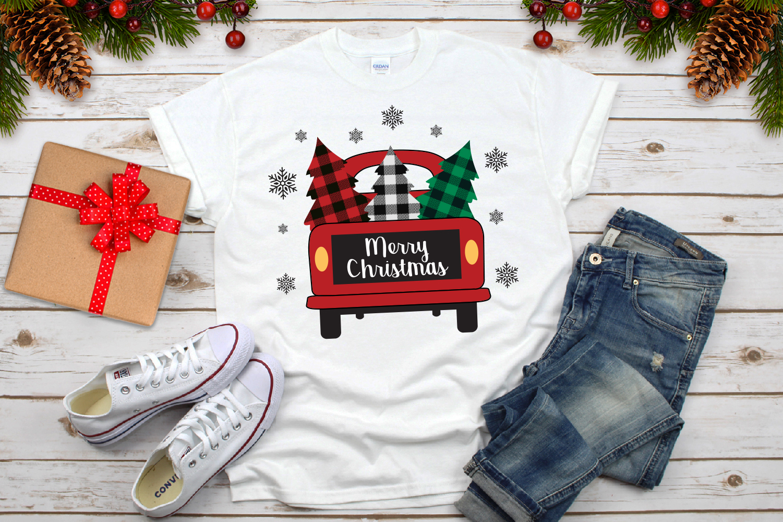 Merry Christmas Truck Buffalo Plaid Svg example image 4