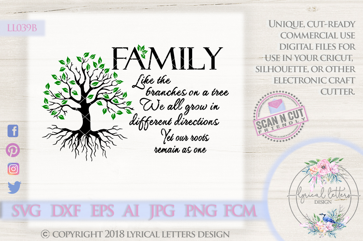 Family Like the Branches on a Tree SVG Cut File LL039B example image 1