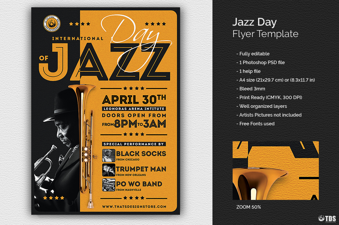 Jazz Day Flyer Template V1 example image 1