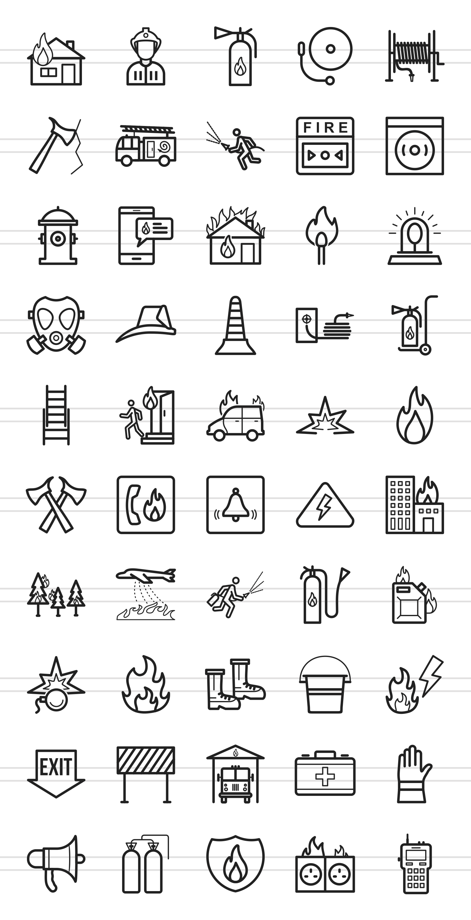 50 Firefighting Line Icons example image 2