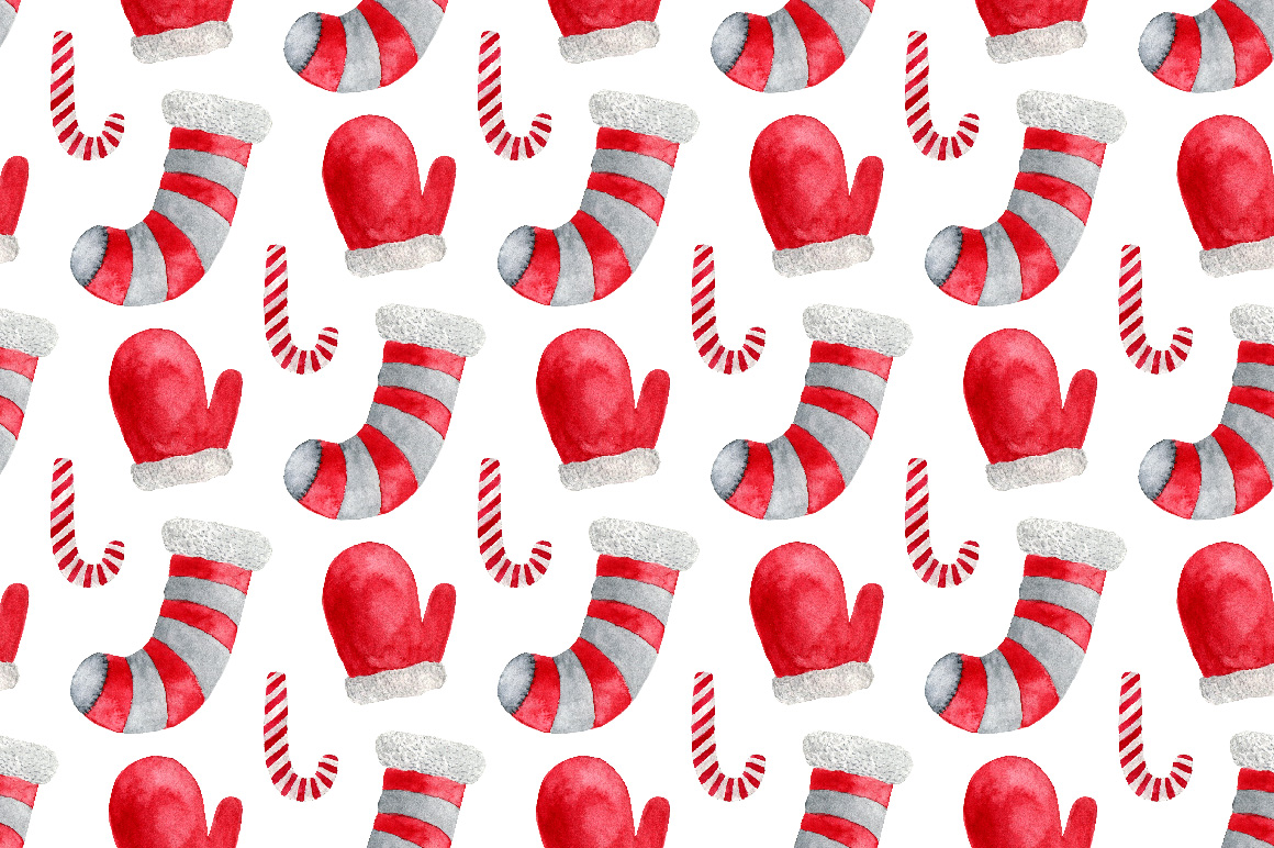 Christmas Watercolor art & patterns example image 4