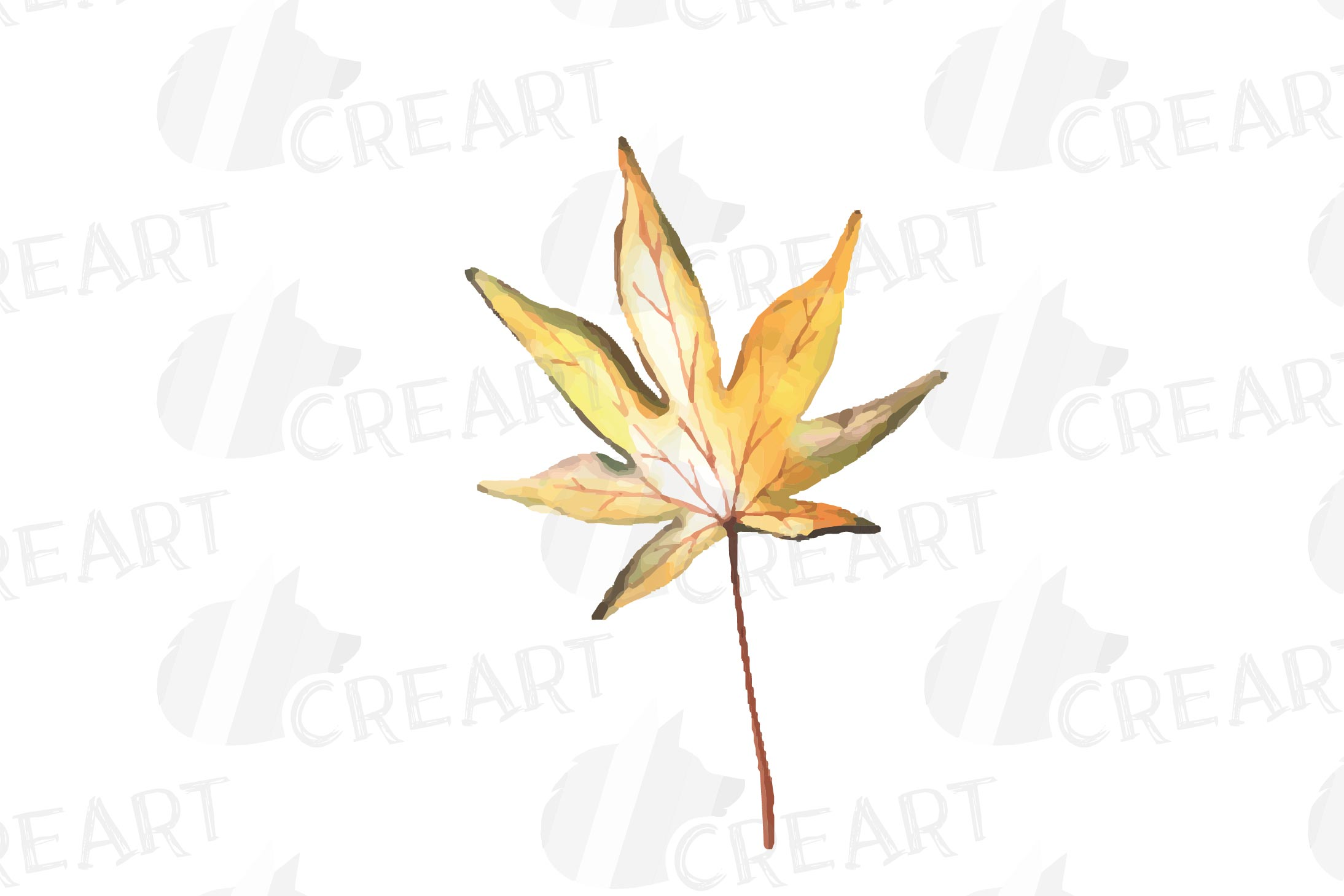 Printable autumn leaves watercolor decoration clip art pack. example image 14