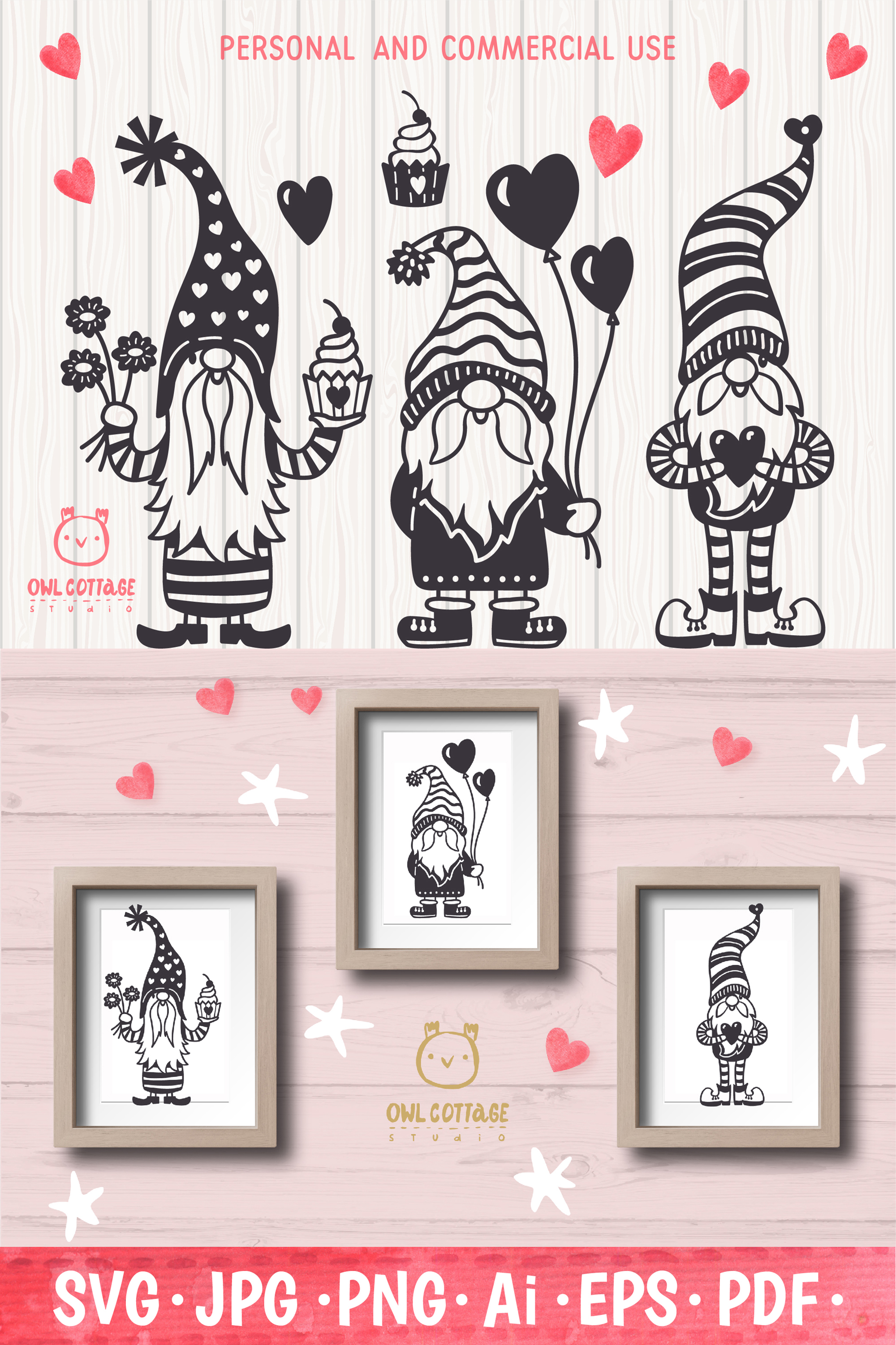Valentine Gnomes, Gnome Holding Heart Svg, Valentine's Day S example image 13