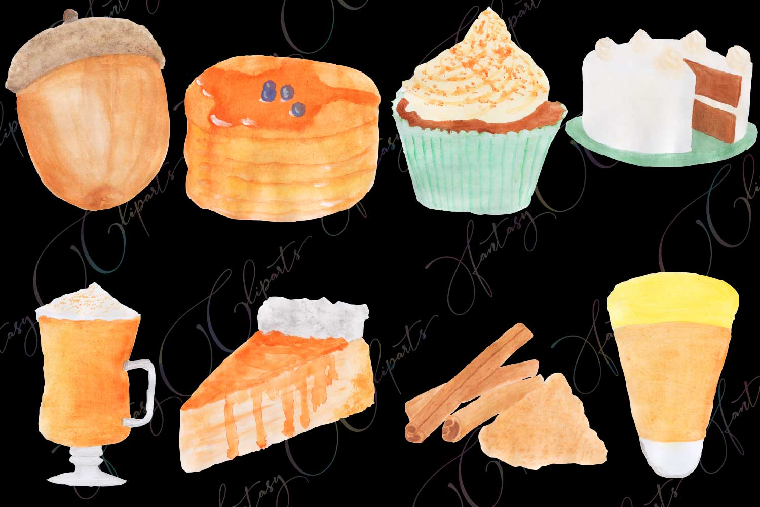 Watercolor Hand Drawn Pumpkin Spice Clipart example image 3