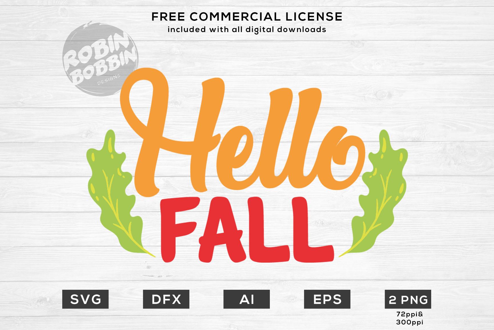Hello Fall - Autumn SVG File example image 1