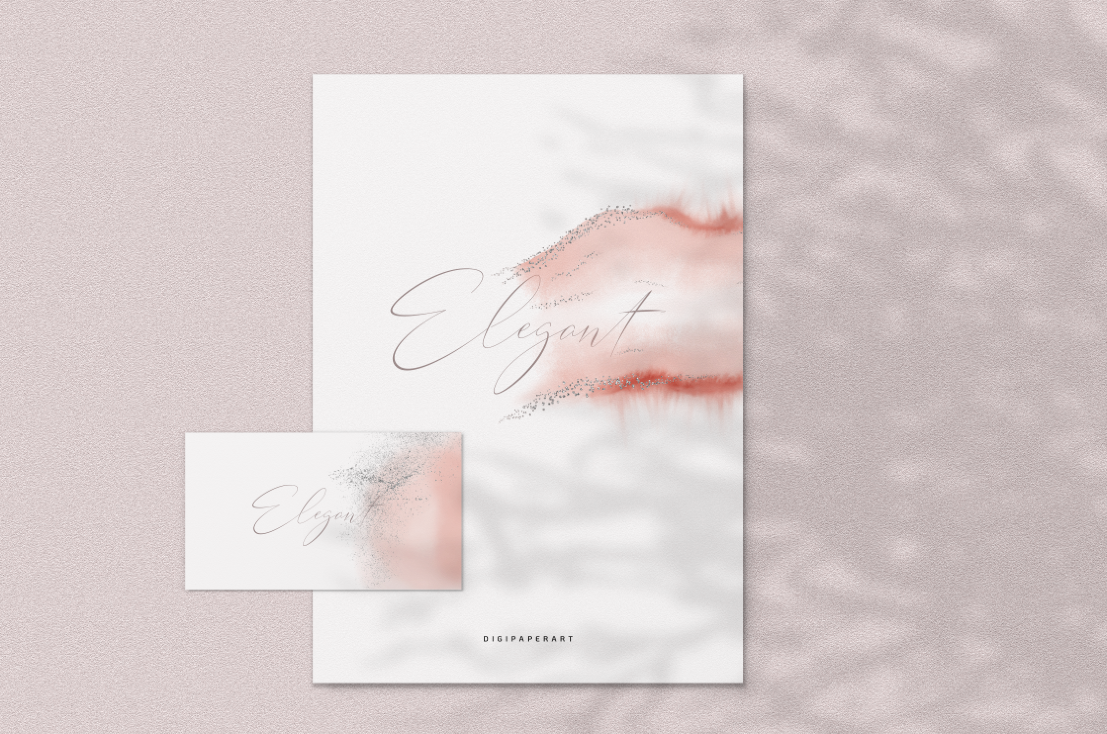 Blush Pink and Silver Glitter Watercolor Backgrounds PNG example image 5
